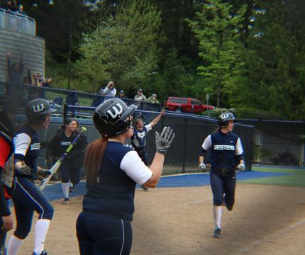 WWU softball team in action