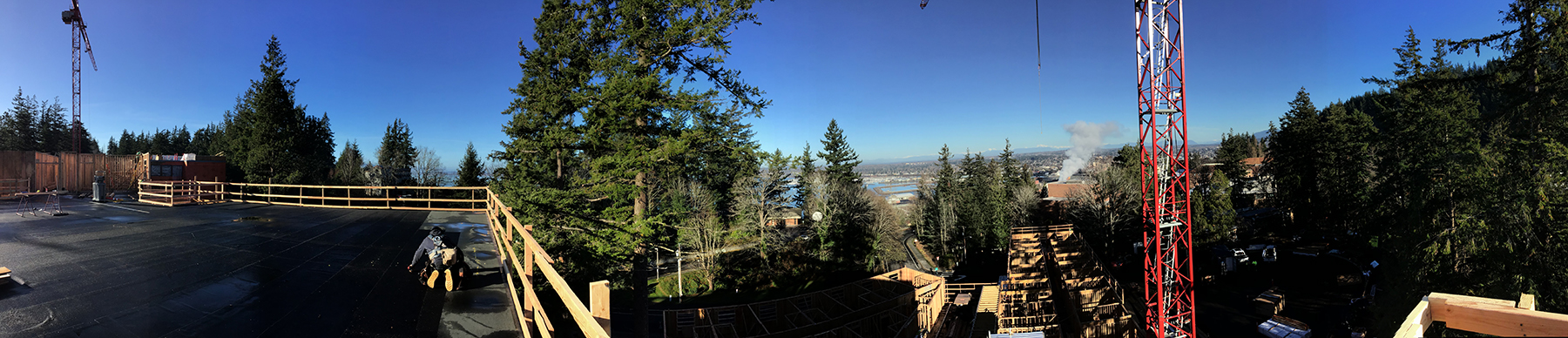 Panorama view of the new residence hall construction site
